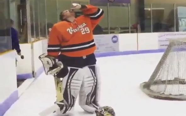 Jake Anderson UVA Goalie Beer Chug